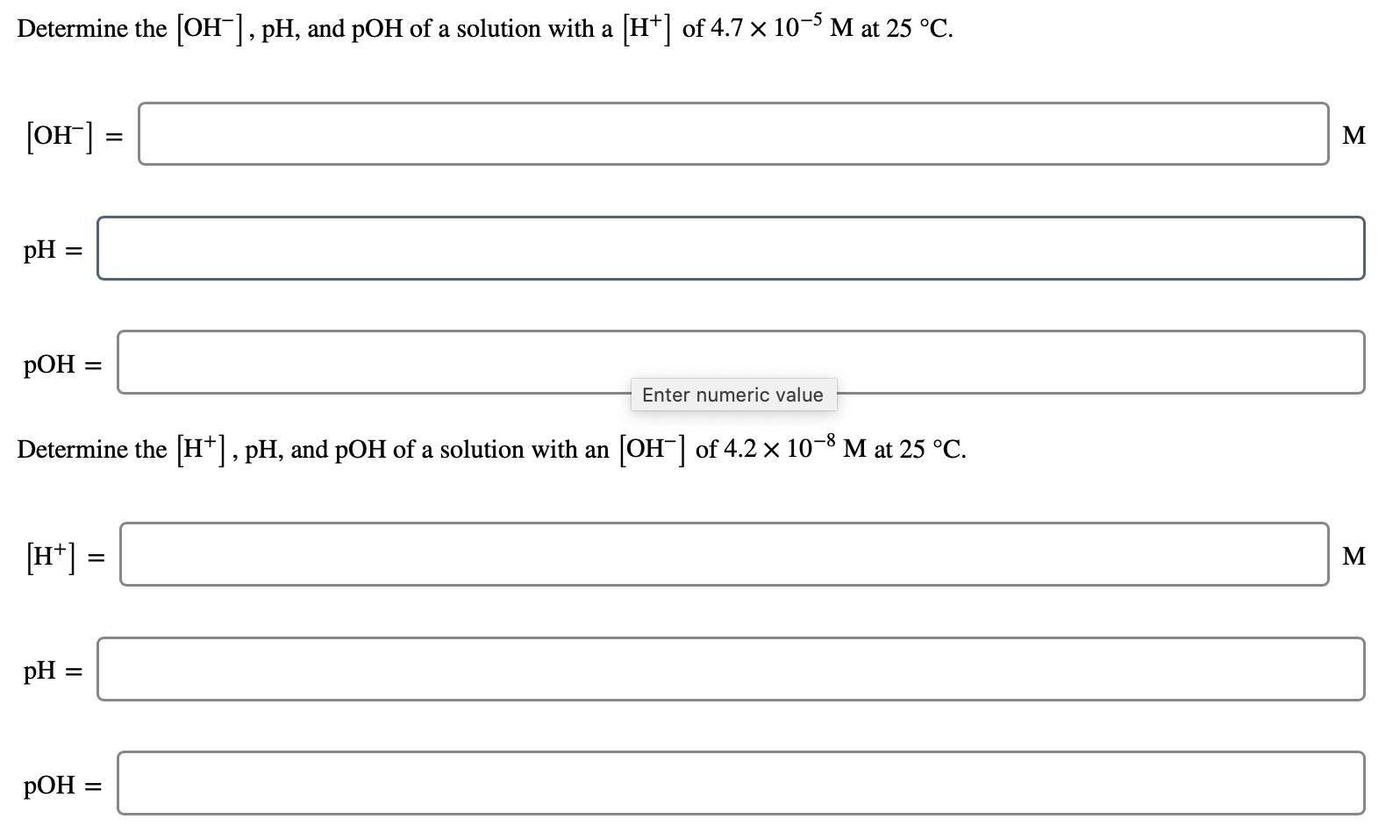 Determine The Oh Ph And Poh Of A Solution With A H