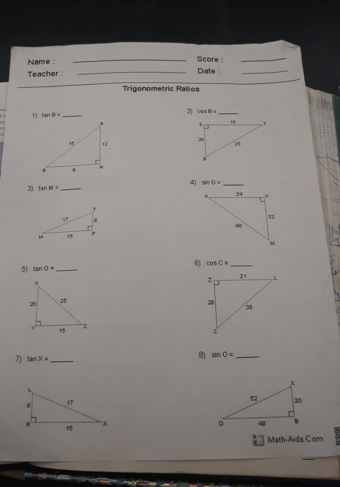 Trigonometric Ratios Worksheet From Math Aids