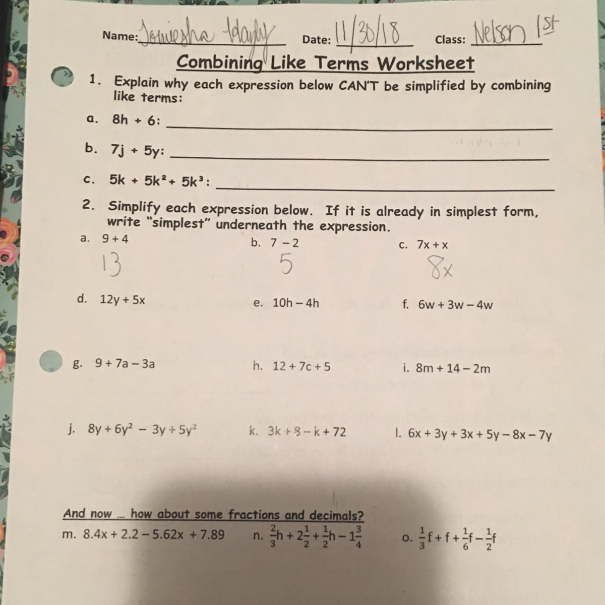 Combining Like Terms Simplify Each Expression Worksheet