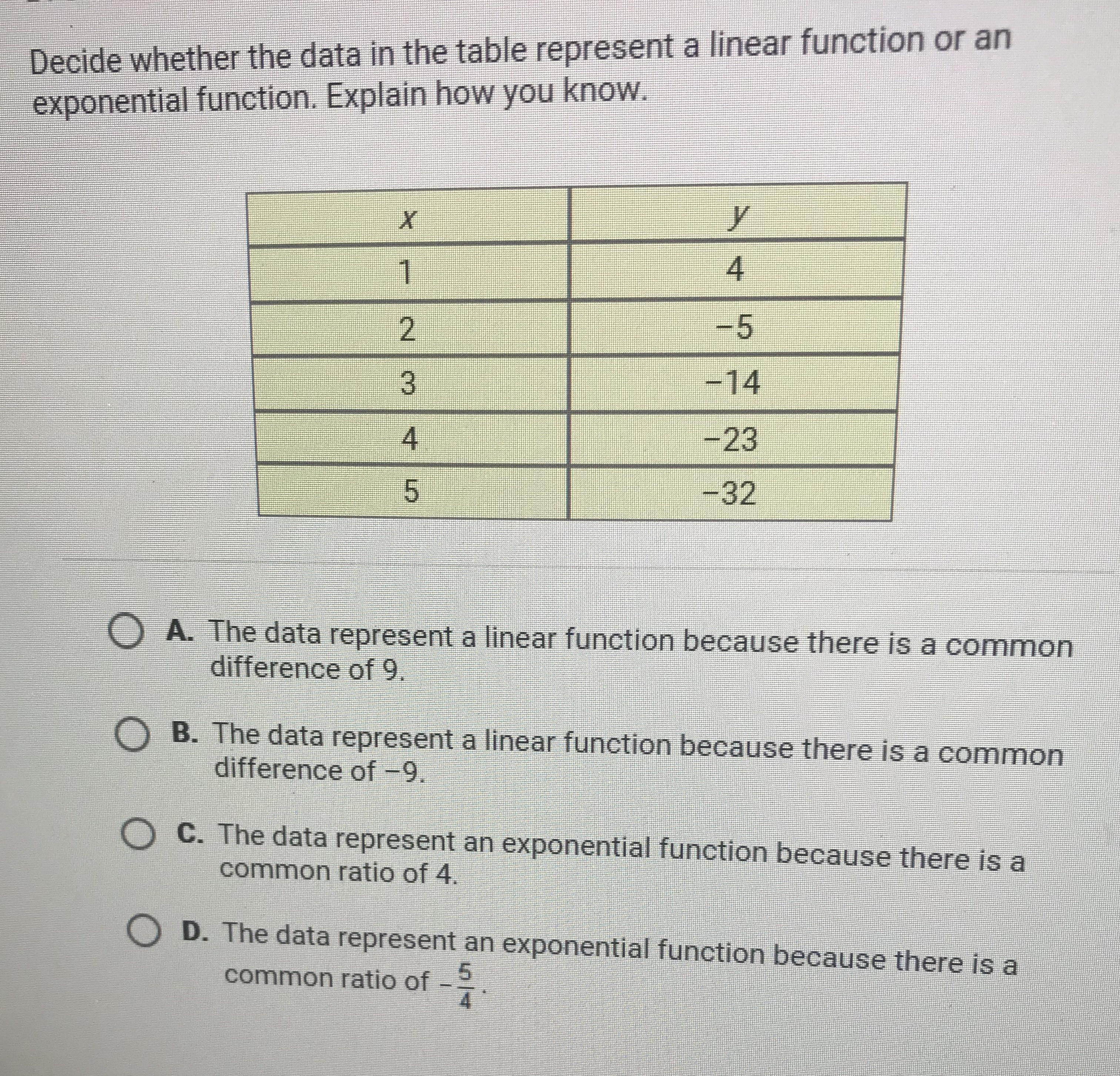 Decide Whether The Data In The Table Represent A Linear