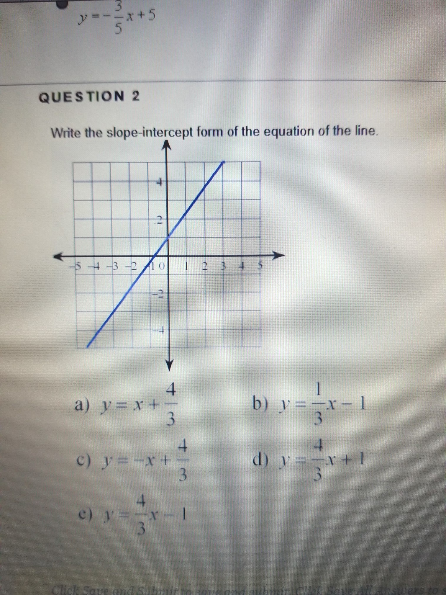 Write The Slope Intercept Form Of The Equation Of The Line