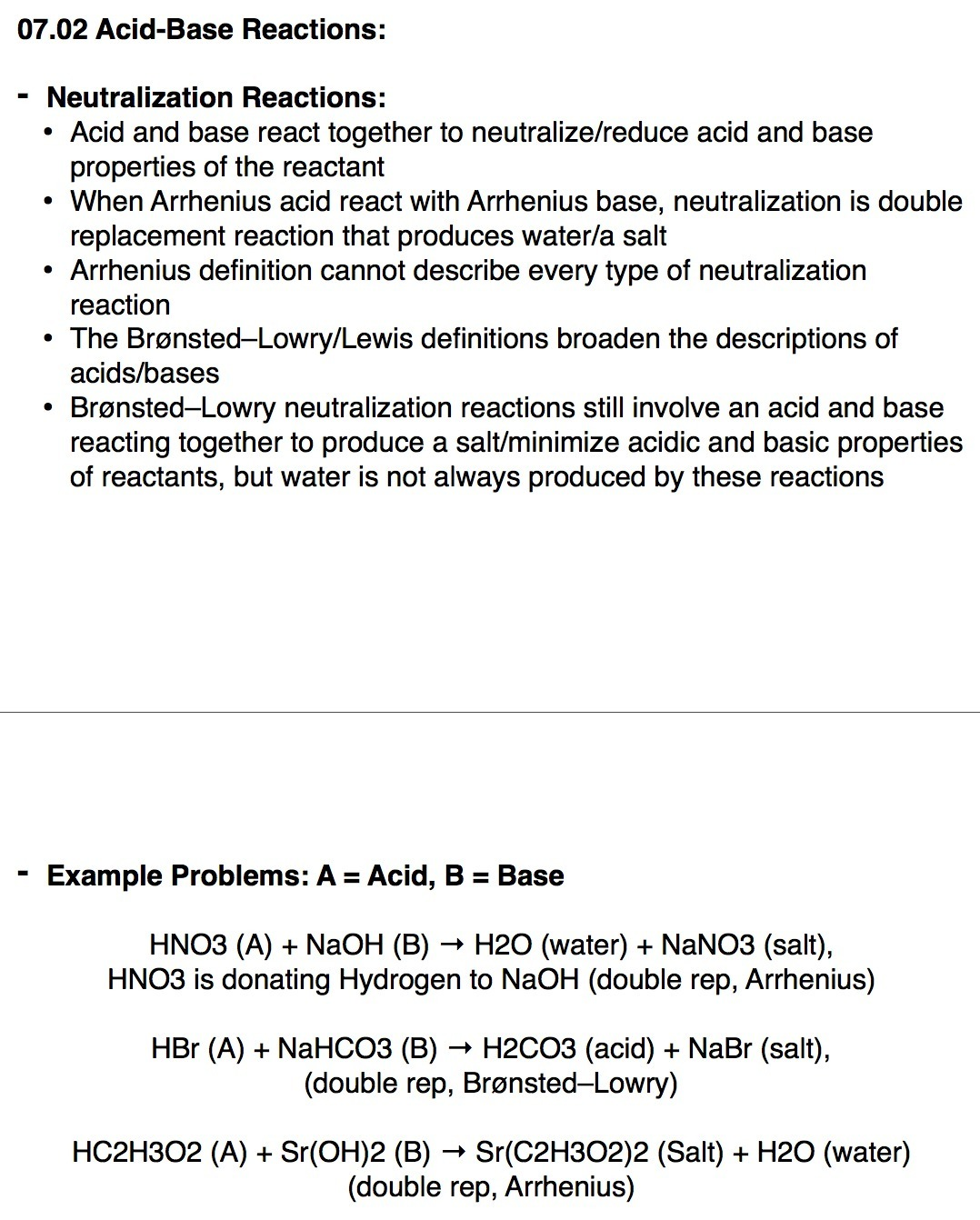 Which Reaction Represents An Acid Base Neutralization