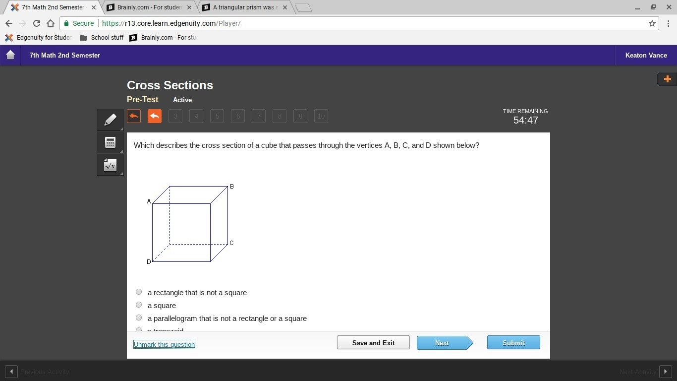 Which Describes The Cross Section Of A Cube That Passes