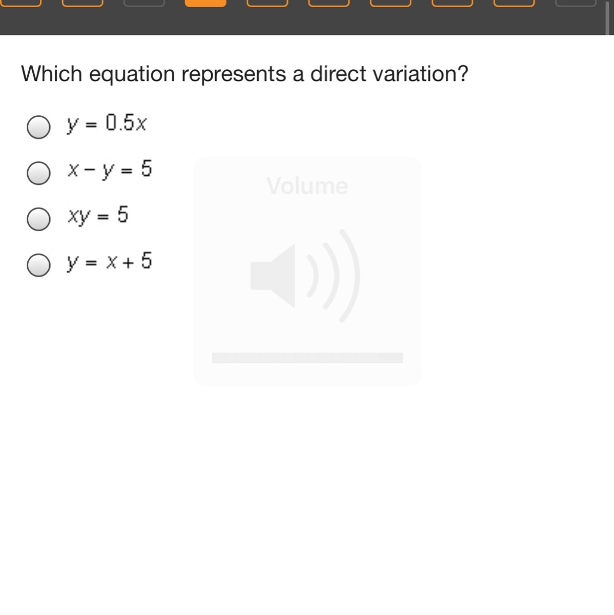 Which Equation Represents A Direct Variation