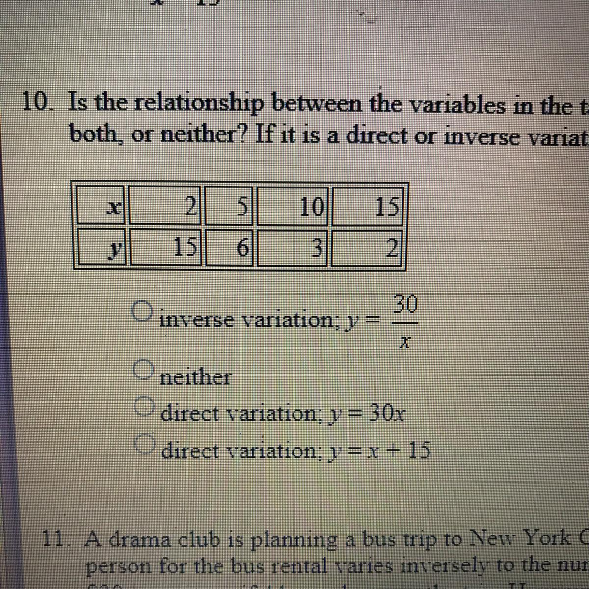Is The Relationship Between The Variables In The Table A