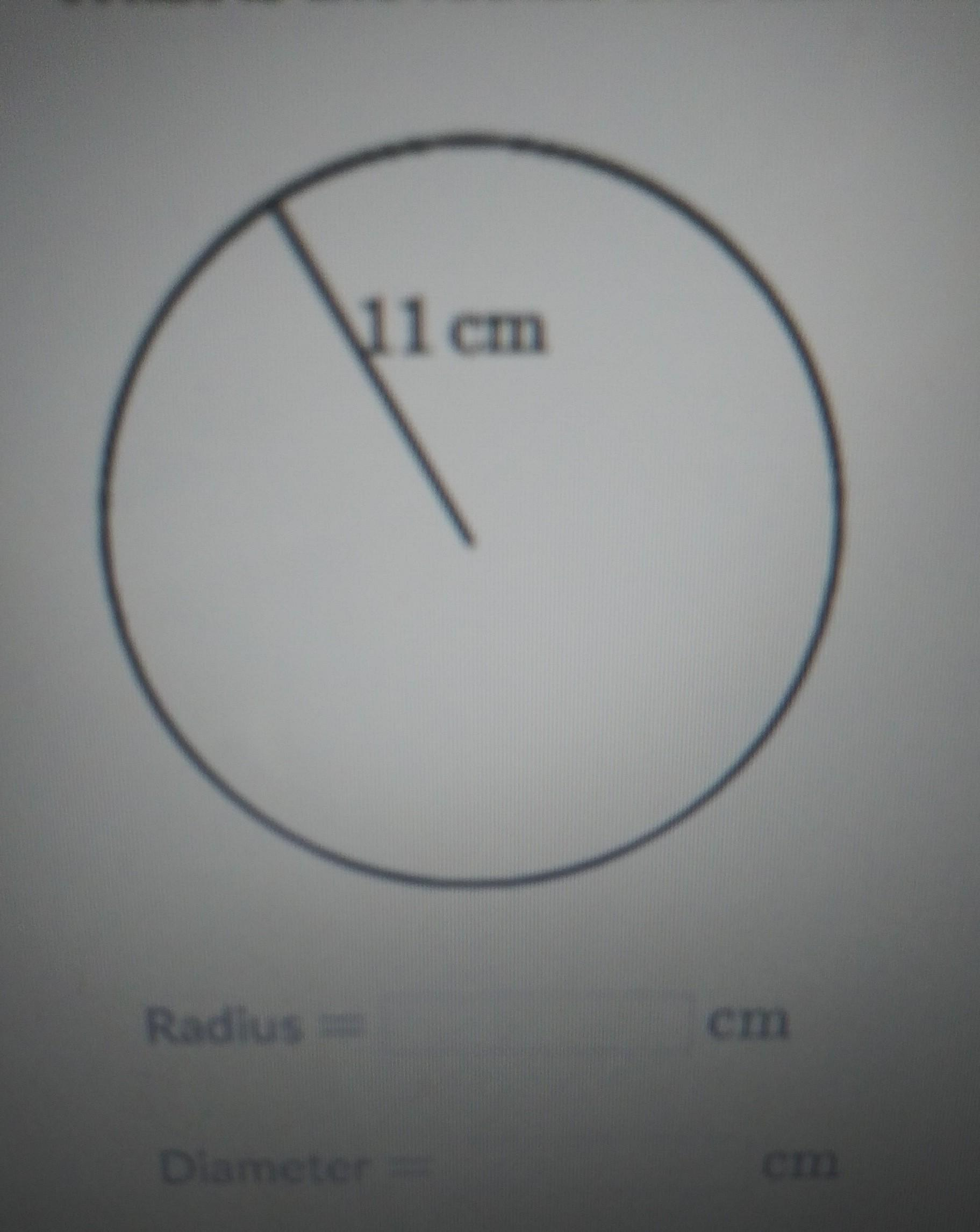 What Is The Radius And Diameter Of The Following Circle