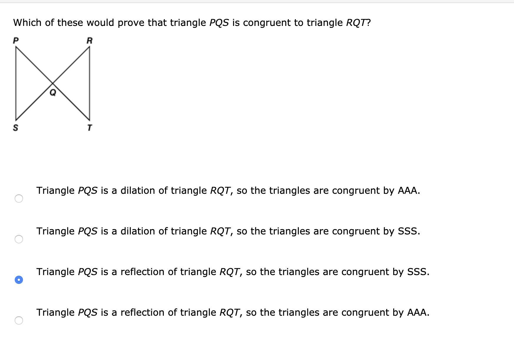 Which Of These Would Prove That Triangle Pqs Is Congruent