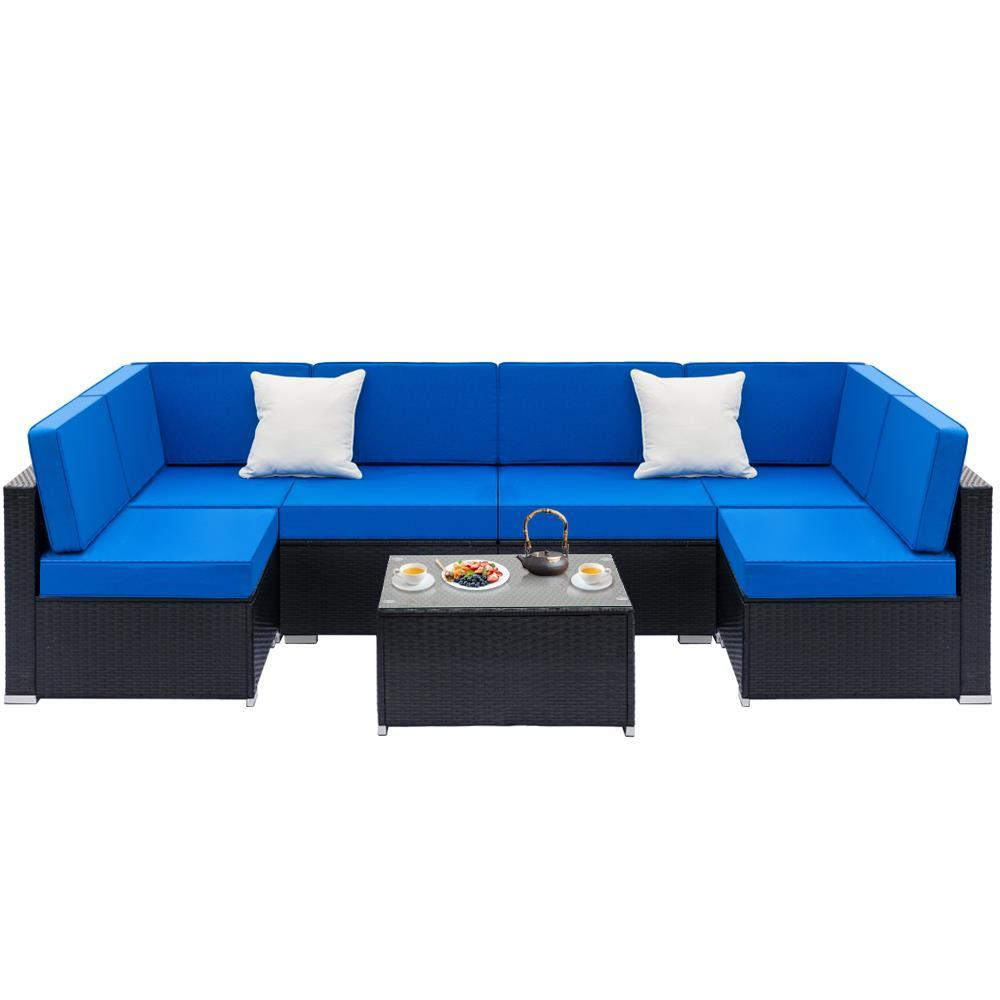 mimbre sofa seccional set acolchado