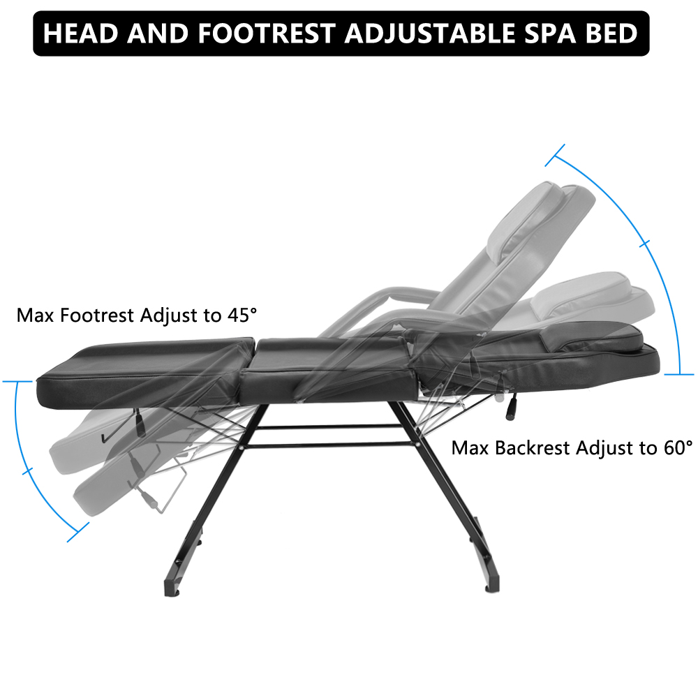 portable metal 3 section fold massage table salon spa chair w therapy beauty bed ebay