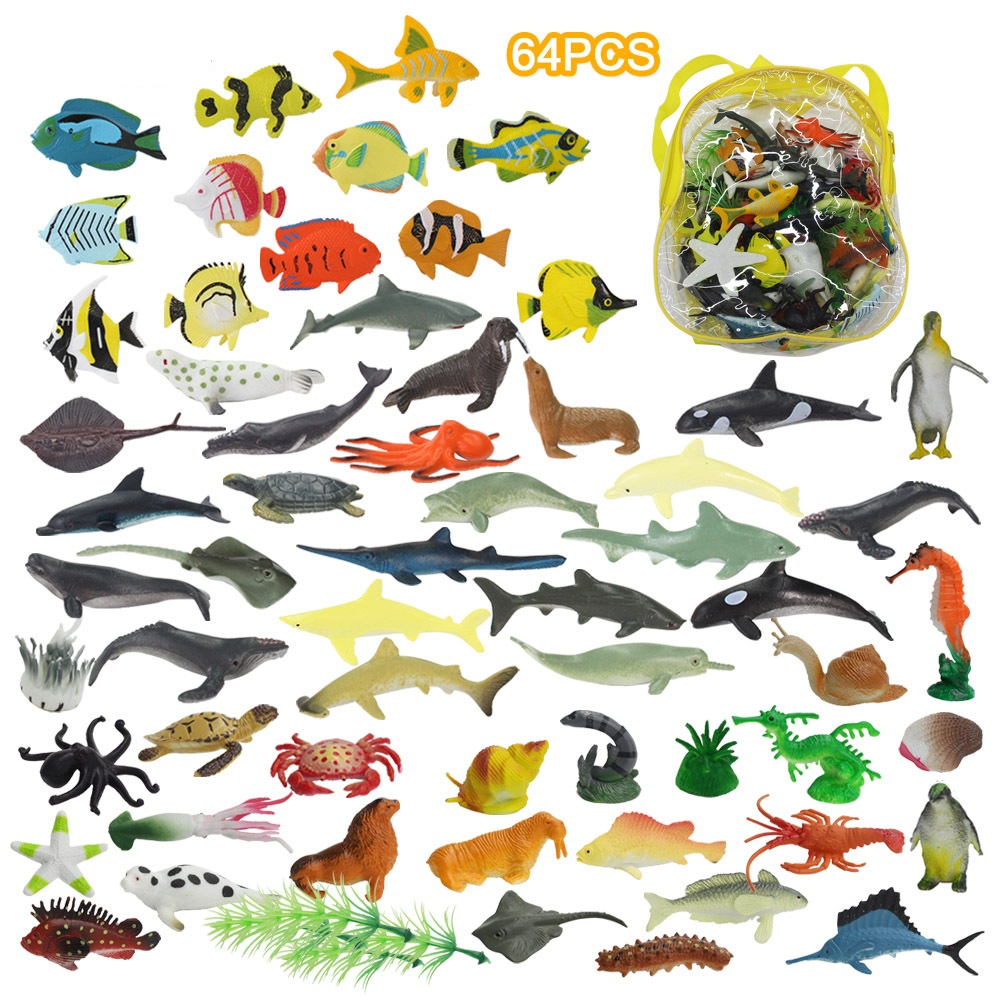 Ocean Sea Animals Figures 64pcs Mini Plastic Marine Life Creature Toys Set Party Ebay