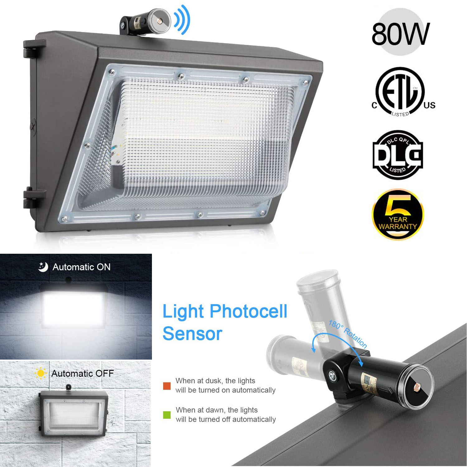 details about 80w wall pack led wall lights 120v 277v 5000k commercial outdoor light fixture