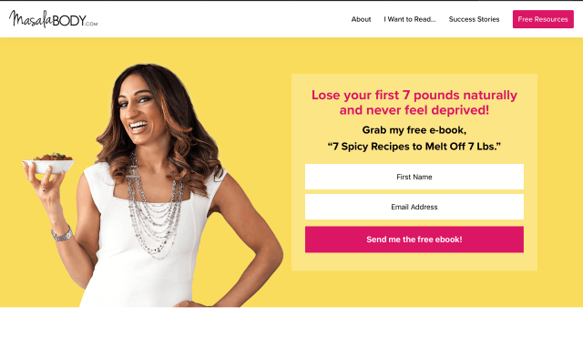 masala_body landing page example featuring a subscription form – list building ideas and tools.