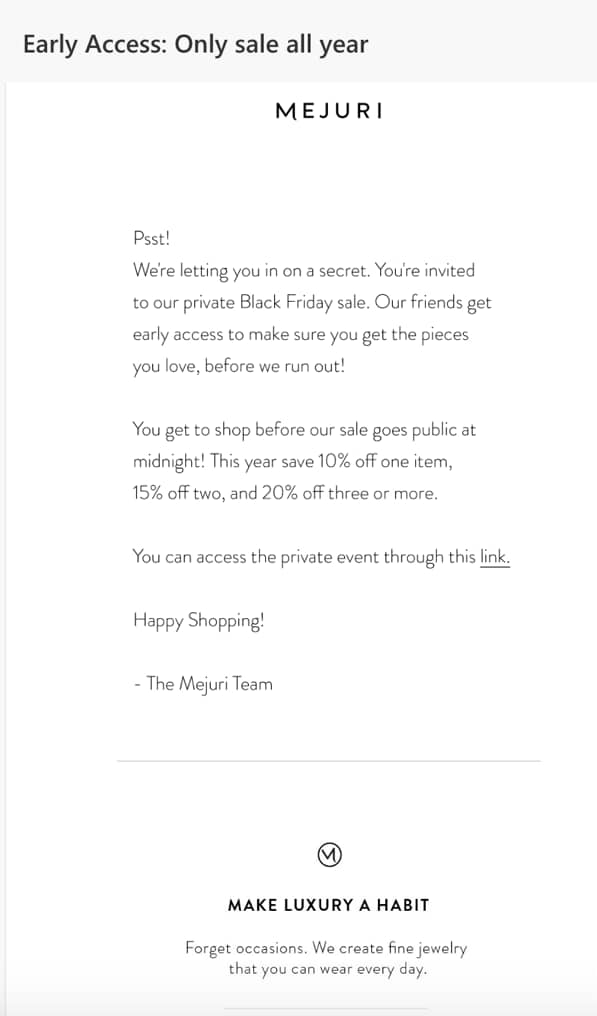 flash sale black friday good email example mejuri.