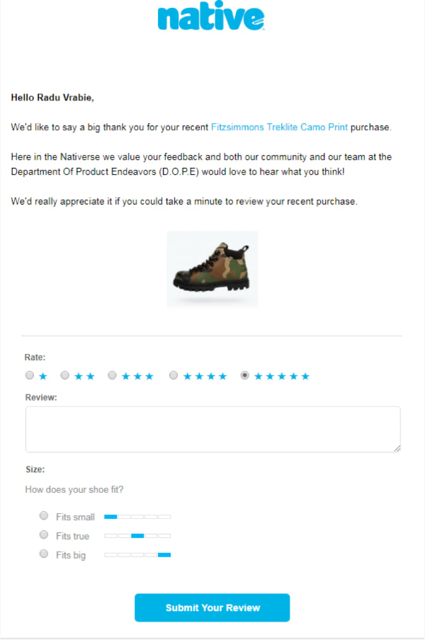 post purchase satisfaction email native.