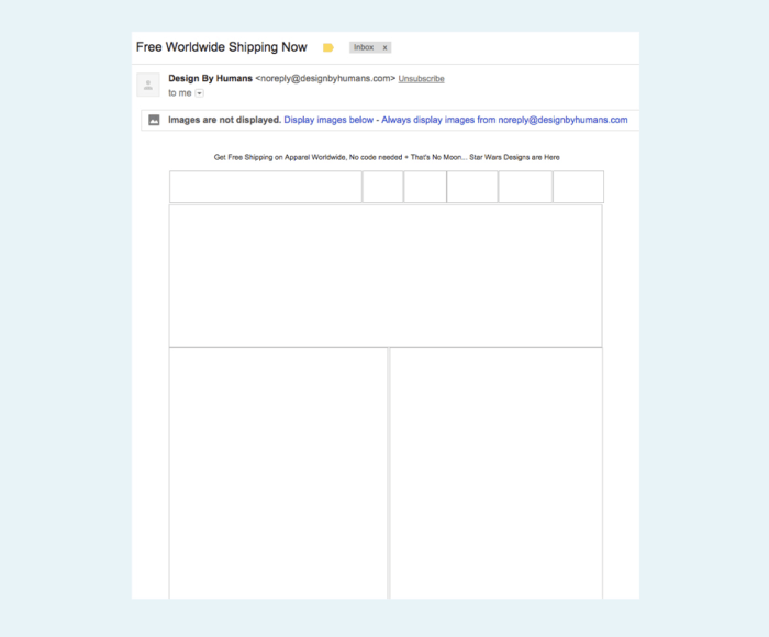 An email without alt text for images.