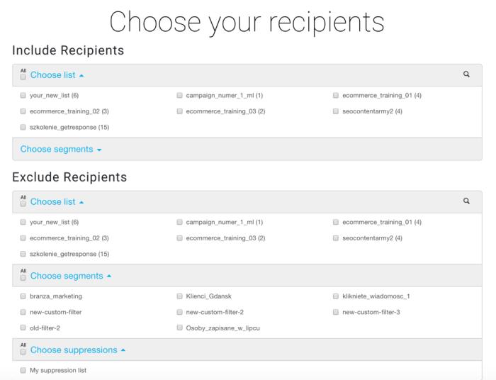 Choosing recepients in GetResponse email database.