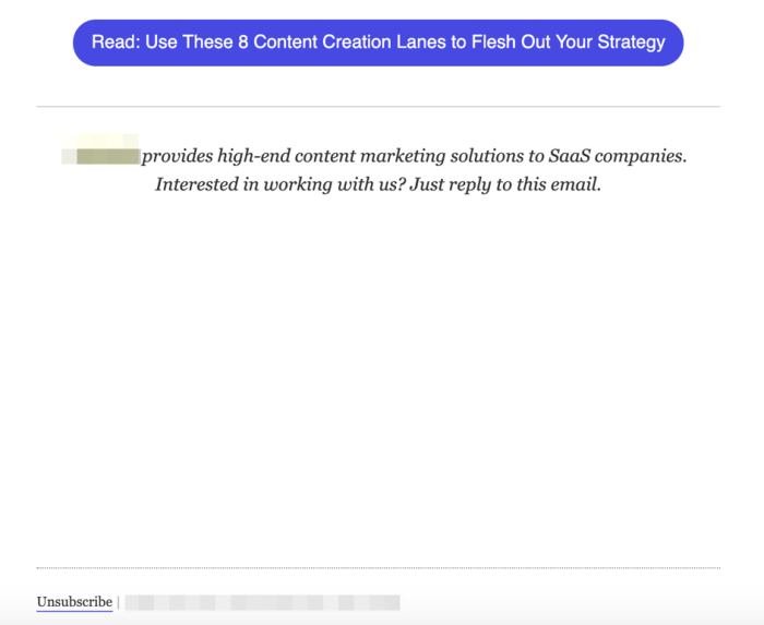 Unsubscribe link placement mistake.