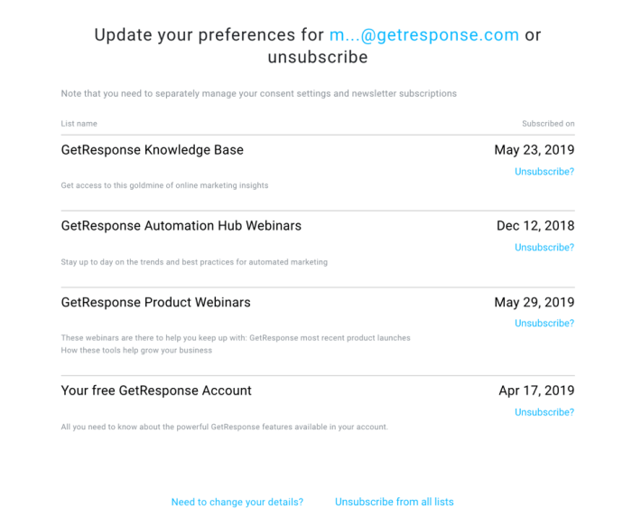 Unsubscribe preferences.