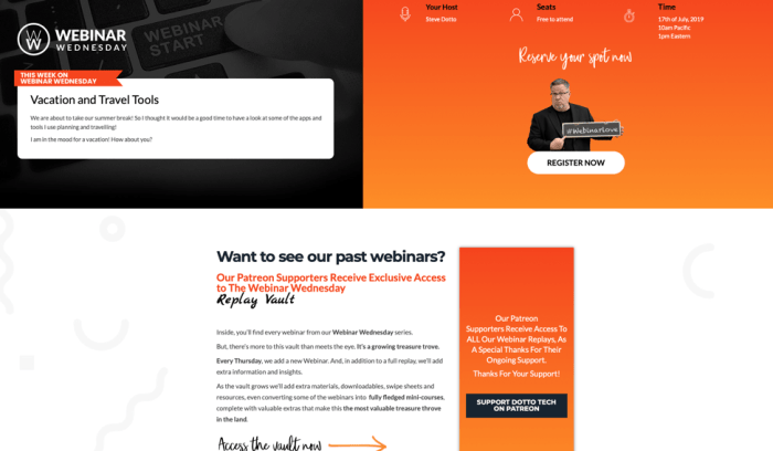 dotto tech landing page for webinar signups.