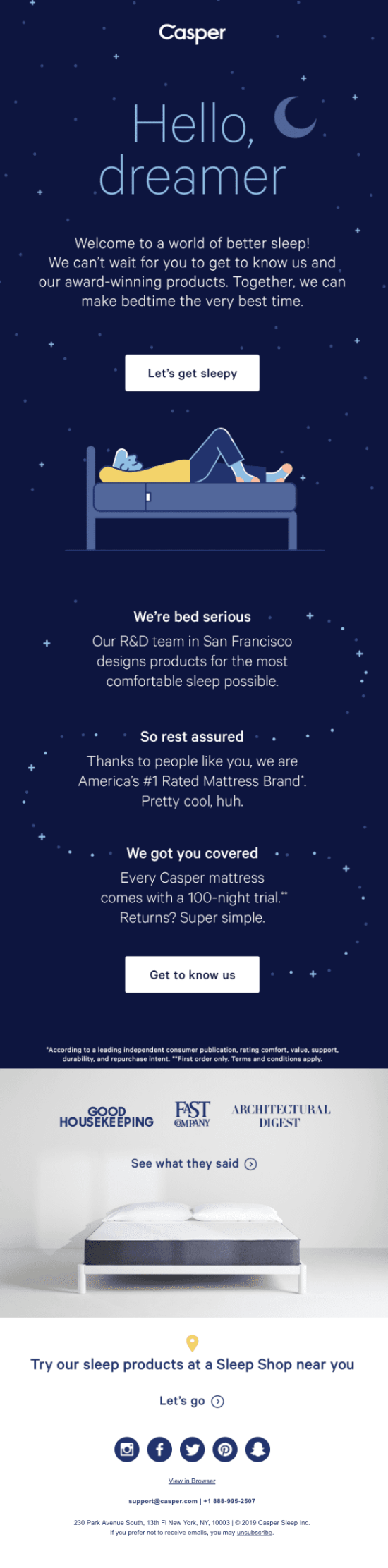welcome email from casper