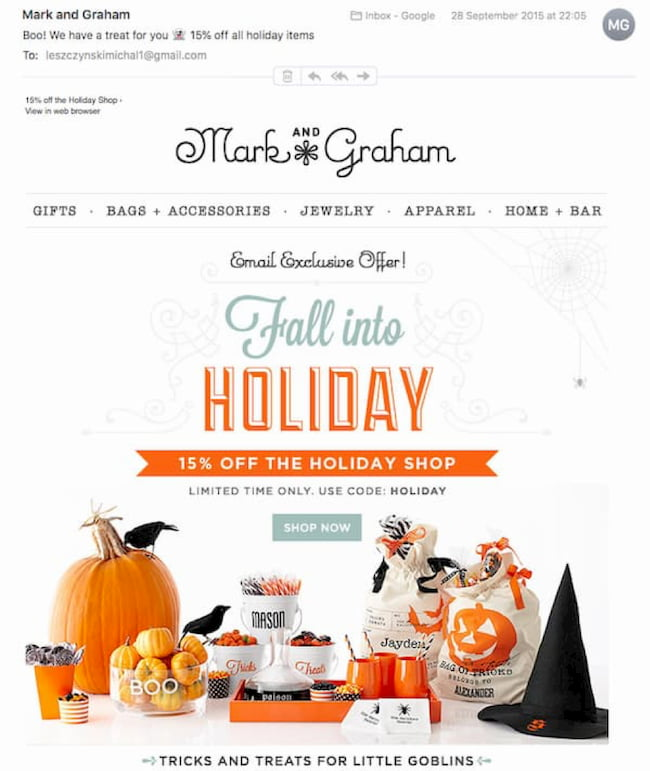 Mark and Graham holiday fall email campaign.