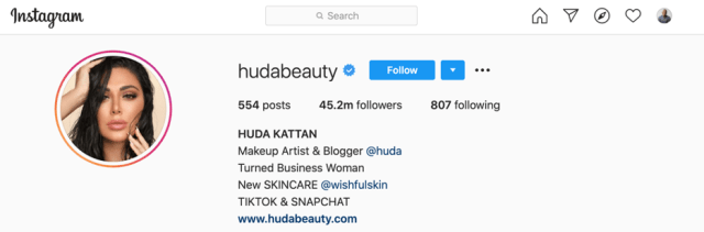 L'instagram de Huda Kattan.