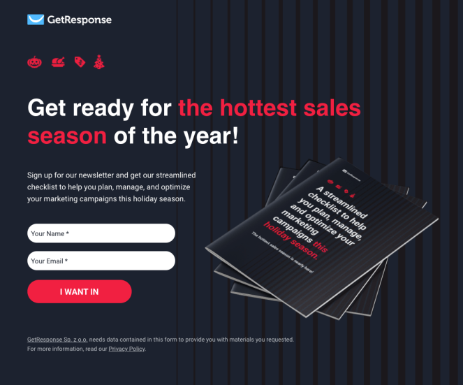 Lead gen landing page GetResponse used for the holiday marketing campaign. The lead magnet offered here was a checklist.