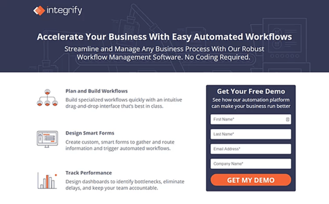 Detailed landing page with an extended form aimed to generate high quality leads.