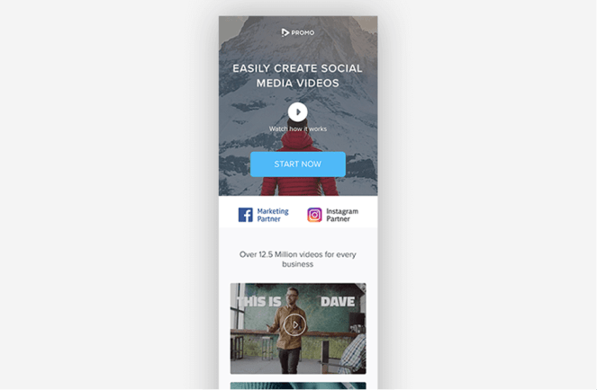 Simple lead generation landing page from Promo featuring beautiful video content.