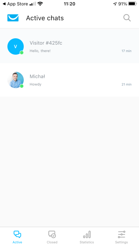Managing GetResponse Chats in the Mobile App.