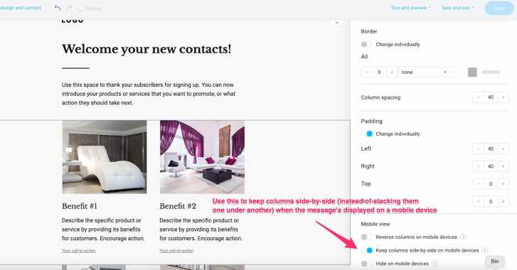 How to make sure your columns aren't stacked when the message's viewed on mobile devices - GetResponse Email Creator.