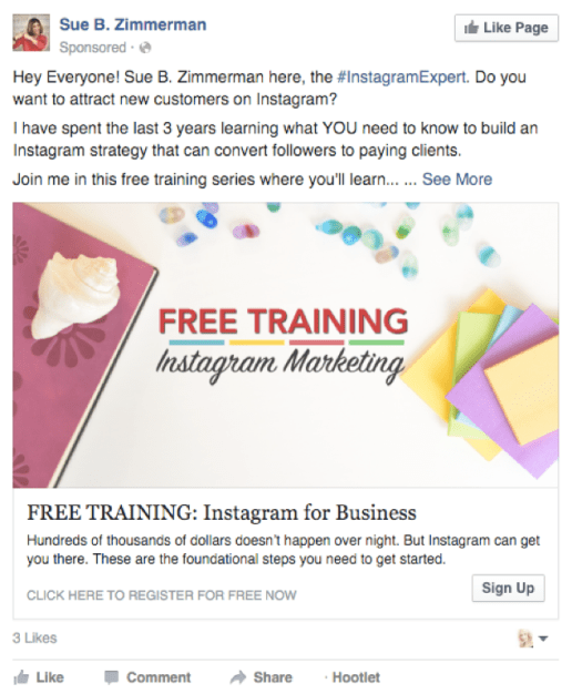 Example of an image ad on Facebook.