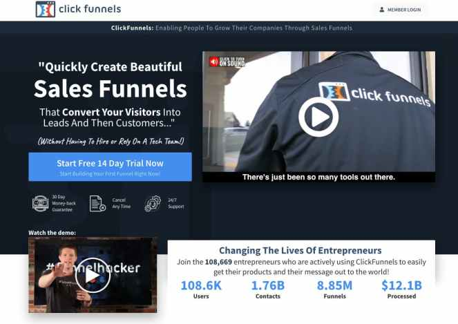 ClickFunnels homepage.