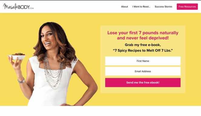 Landing page example Masala Body.