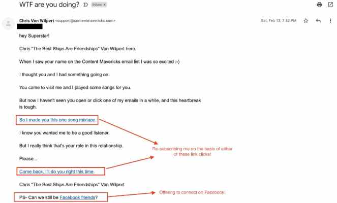 Reactivation email resubscribing users based on link clicks.