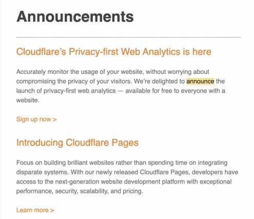 Cloudflare email featuring company announcements.