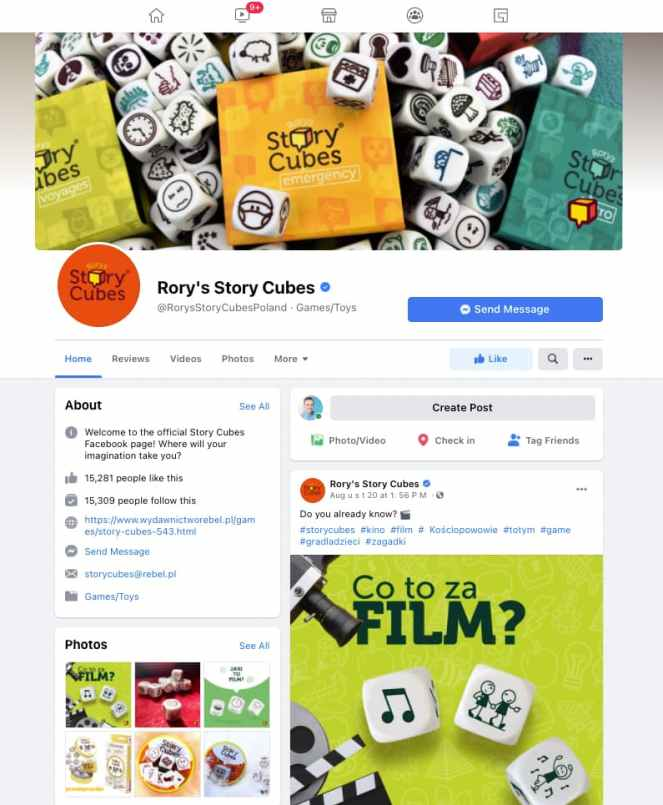 Story Cubes - Facebook page.