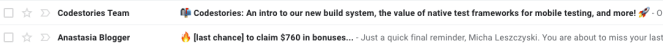 Image showing two emails using emojis in their subject lines.