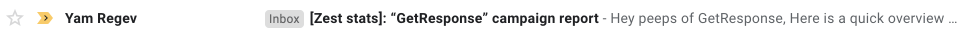 Personalized email subject line showing the GetResponse company name. Also visible in the preheader.