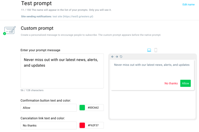 GetResponse Web Push Notifications setup.