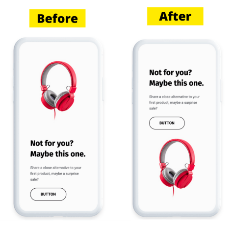 """Using the """"Reverse columns on mobile devices"""" in GetResponse Email Creator - before and after view."""