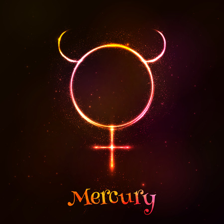 Shining neon zodiac Mercury vector symbol at dark background Stock Vector - 45876464