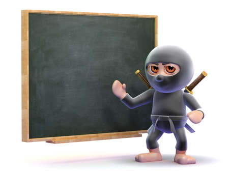 ninja: 3d render of a ninja at a blackboard