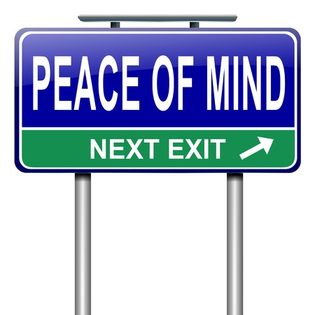 peace of mind: Illustration depicting a roadsign with a peace of mind concept. White background. Stock Photo