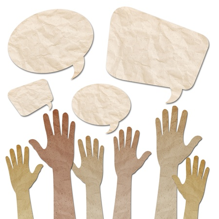 recycled paper craft, Human Hands raised up with Speech Bubbles on white Stock Photo - 14796121