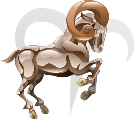 Illustration representing Aries the ram star or birth sign. Includes the symbol or icon in the background Stock Vector - 4713069