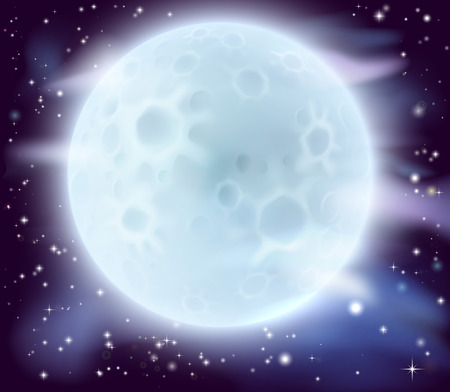 A cartoon illustration of a large glowing full moon Stock Vector - 31812823