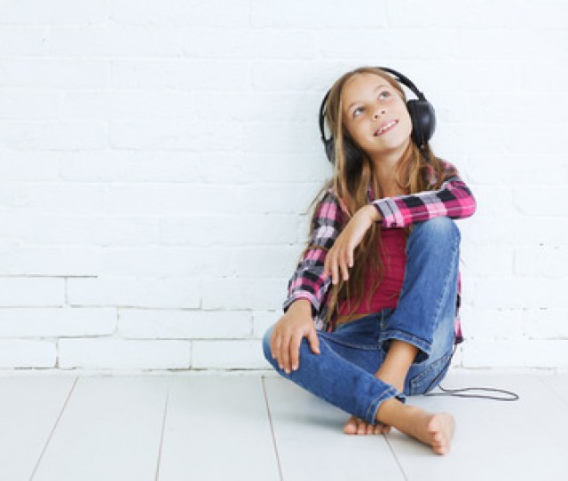 Years Old Stylish Teen Girl With Black Headphones Posing On White Background Stock