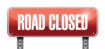 road closed road sign illustrations design over a white background Stock Vector - 22860208
