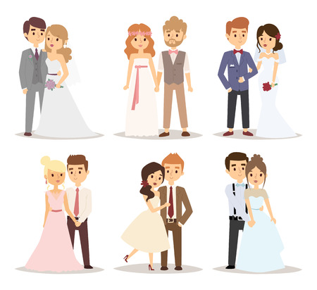 cartoon wedding: Wedding couple vector illustration.